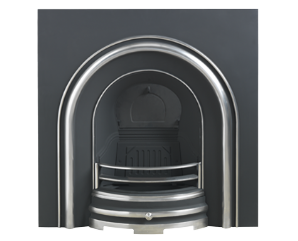 Plain Arched Cast-iron Fireplace Insert Polished